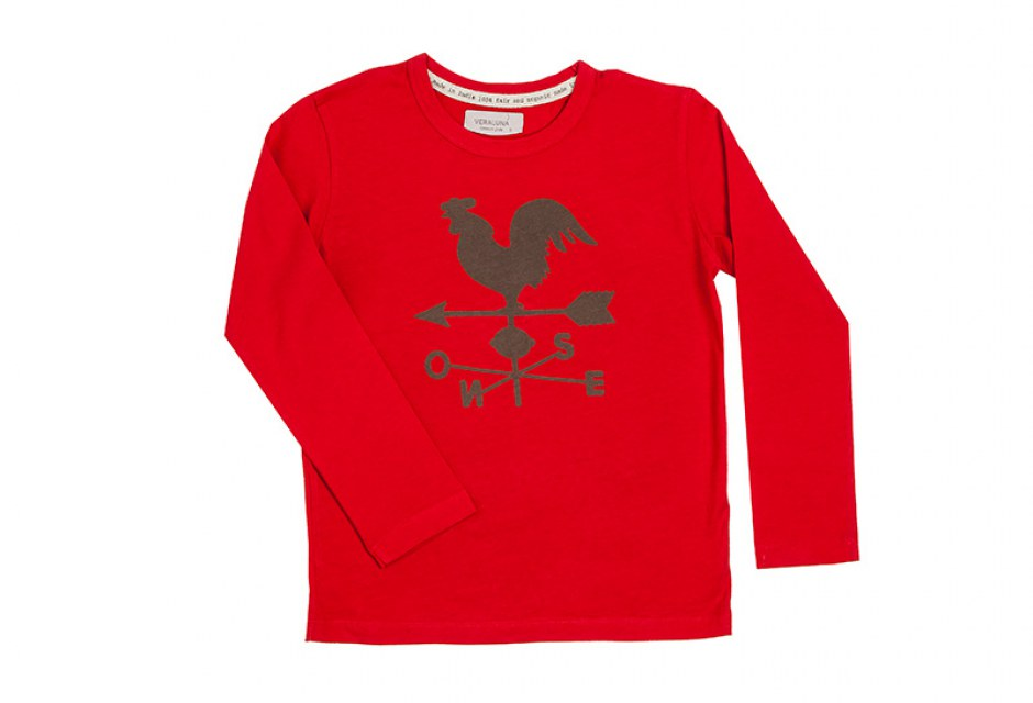 Camiseta infantil de algodón ecológico Veleta color cereza