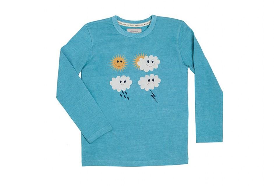 Camiseta infantil de algodón ecológico color lluvia